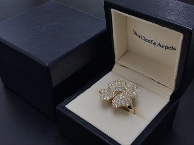 VanCleef&Arpels ヴァンクリーフ&アーペル コスモス ダイヤリング 750YG イエローゴールド ジュエリー 高価買取 七条店