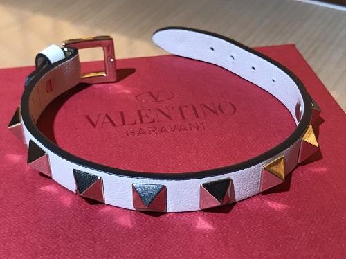 ヴァレンティノ VALENTINO ロックスタッズブレスレット レザー ホワイト