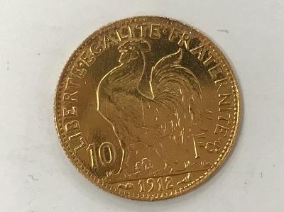 コイン フランス マリアンヌ ルースター金貨 10フラン K21,6 3,2g 金貨買取 三宮 元町 神戸