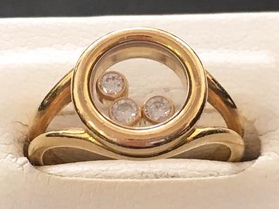 ショパール(Chopard) ハッピーダイヤモンド リング 3ダイヤモンド 750YG ショパール買取 三宮 元町 神戸