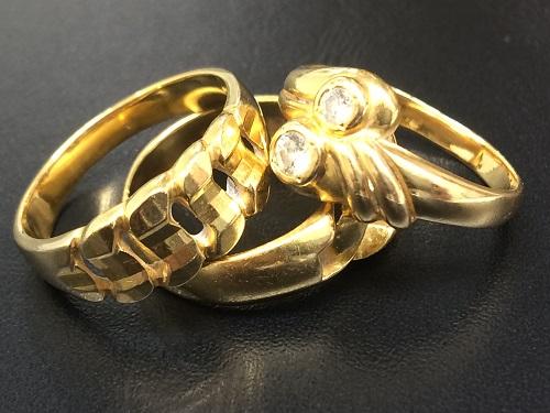 金製品 リング 指輪 ダイヤモンド ジュエリー 3点 K18 宝石 750 15グラム前後 北山店 ダイヤ買取 金買取