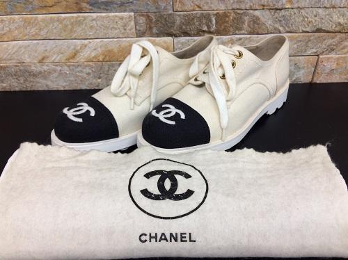 シャネル(CHANEL) スニーカー キャンバス ホワイト ブラック ココマーク レディース 北山店 北山周辺 シャネル買取