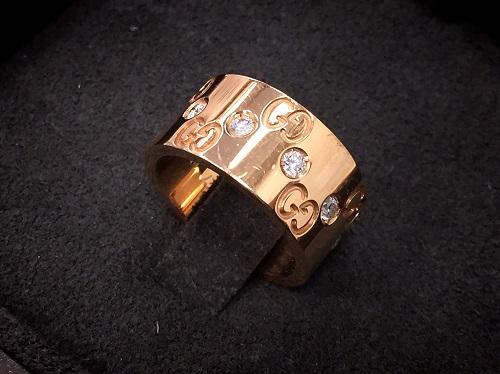 グッチ(GUCCI)アイコンリング ピンクゴールド ダイヤモンド ブランドジュエリー