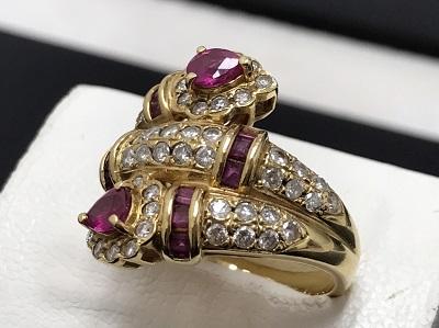 ルビー 1.25ct メレダイヤモンド 1.00ct リング K18 金 宝石 高価買取 出張買取