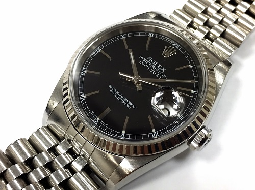 ロレックス(ROLEX) デイトジャスト 16234 黒文字盤 SS×WG 腕時計