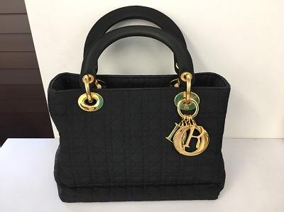 クリスチャンディオール Christian Dior レディディオール ハンドバッグ ナイロンキャンバス ブラック ゴールド金具 宅配買取