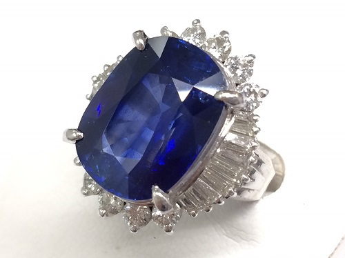 ブルーサファイア リング Pt900 プラチナ 宝石 17ct ダイヤモンド2ct ハイジュエリー 京都北山店 サファイア買取