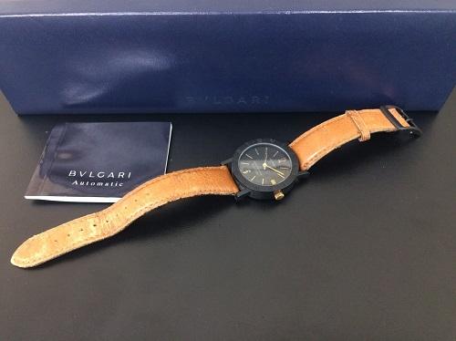 ブルガリ(BVLGARI)買取 ブルガリブルガリ 時計買取 カーボン レザーベルト 自動巻 京都北山店 ブルガリ売却品