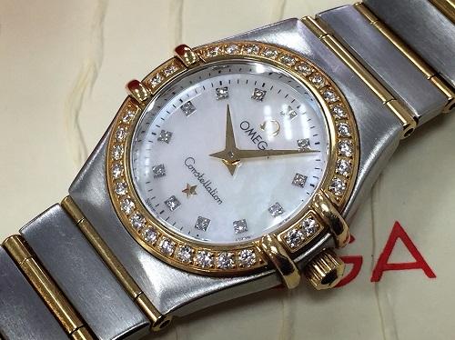 オメガ(OMEGA)コンステレーション ダイヤモンド シェル文字盤 SS YG 腕時計