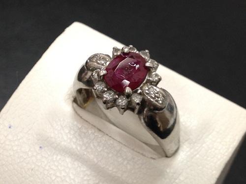ルビーリング プラチナ Pt900 メレダイヤモンド 宝石 ジュエリー