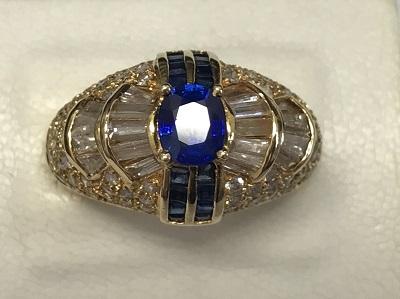 サファイア ダイヤモンド リング サファイア 0.80ct ダイヤモンド 1.78ct K18イエローゴールド 宝石買取 三宮 元町 神戸