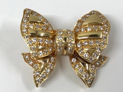 ペンダントトップ ダイヤモンド リボンモチーフ K18 4.0g宝石買取ダイヤモンド買取はマルカ(MARUKA)