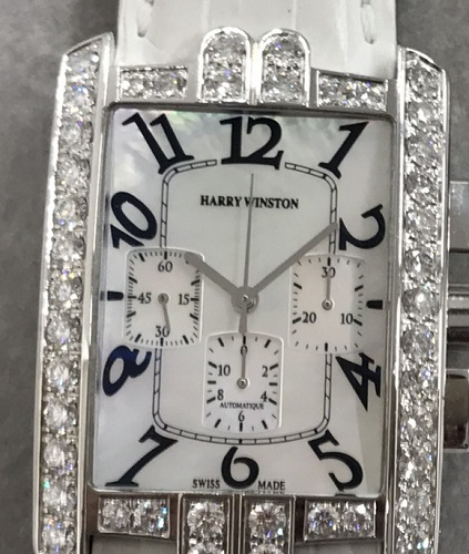 ハリーウィンストン アベニュークロノRef.330MCA 白シェル文字盤 ハリーウィンストンの時計も高価買取!