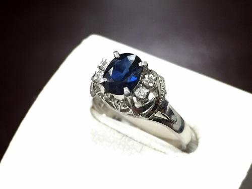サファイアリング ダイヤモンド プラチナ Pt900 宝石強化買取