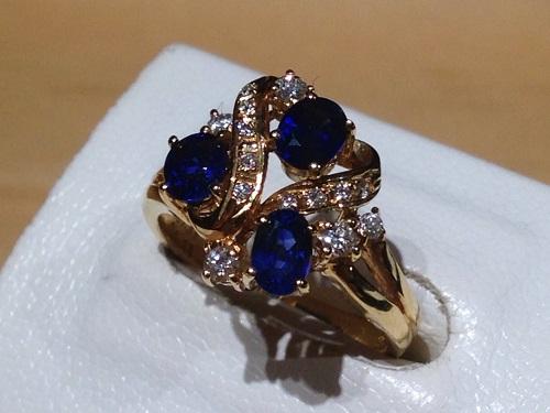 リング 18金 サファイア ダイヤモンド ジュエリー 宝石強化買取