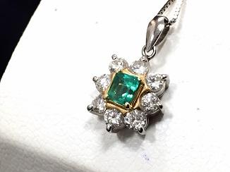 エメラルドペンダント ダイヤモンド プラチナ ジュエリー買取 質屋 福岡 天神 博多