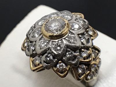 ダイヤモンド 0.688ct メレダイヤモンド 1.24ct リング K18 金 宝石 高価買取 七条店