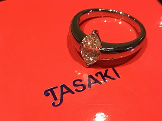 TASAKI タサキ ダイヤモンドリング プラチナ マーキス ベリーライトイエロー ブランドジュエリー買取 質屋 福岡 天神 博多
