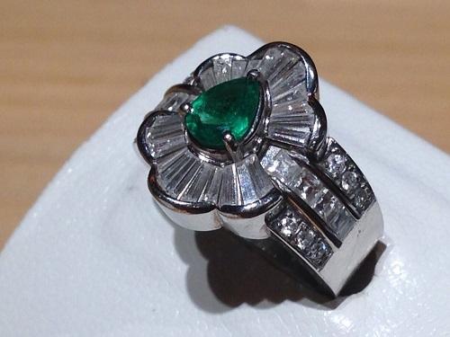 プラチナリング エメラルド メレダイヤモンド Pt900 宝石 ジュエリー