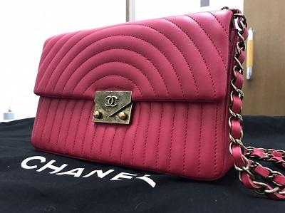 CHANEL シャネル チェーンショルダーバッグ ラムスキン ピンク 2017年新作 美品 高価買取 七条店