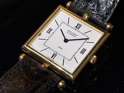 ヴァンクリーフ&アーペル クラシックスクエア 750×革 時計買取りもマルカ(MARUKA)へ!
