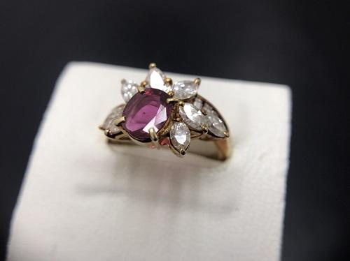 K18 0.23ct 0.25ct 2.6g ルビー ダイヤモンド 宝石 出張買取