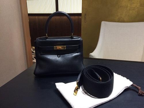 エルメス Hermès ミニケリー ヴォーガリバー ブラック 内縫い 別売りストラップ付 買取 銀座