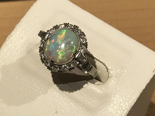宝石 オパール ダイヤ プラチナ 指輪 リング ジュエリー