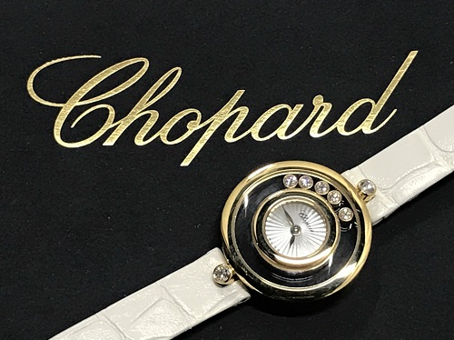 ショパール Chopard ハッピーダイヤモンド 209415-0001 750YG×革 買取 渋谷