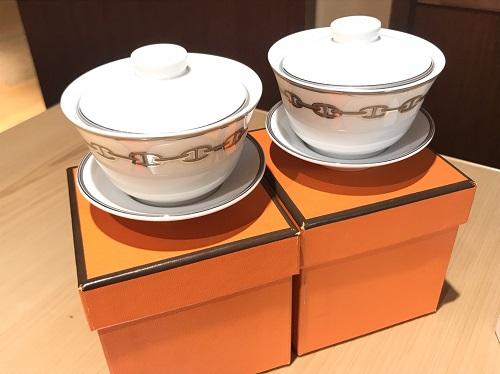 エルメス(HERMES)シェーヌダンクルチャイナペアカップ 未使用 買取 渋谷