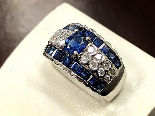 プラチナリング 0.47 0.67 1.92 ダイヤモンド サファイヤ Pt900 ジュエリー買取 大宮店