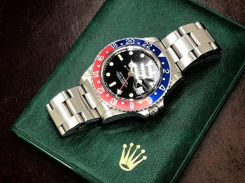 ロレックス(ROLEX) GMTマスターⅠ 16750 R番 青赤ベゼル フチあり 保証書無 北山 買取