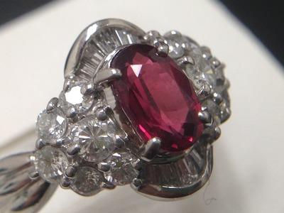 ガーネット買取 1.04ct メレダイヤ 0.75ct リング プラチナ Pt850 ジュエリー 宝石買取MARUKA