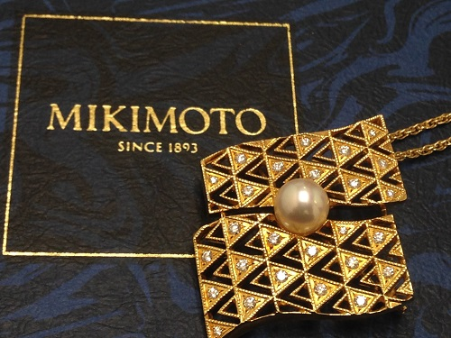 MIKIMOTO ミキモト ダイヤモンドパール ペンダントブローチ K18 750 ブランドジュエリー