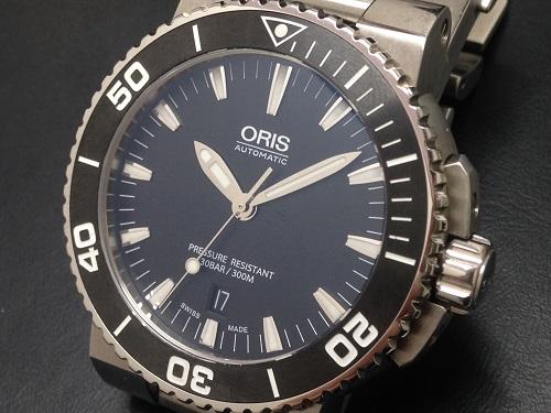 ORIS オリス買取 アクイス 017337653 4154-07 メンズウォッチ SS 黒文字盤 数回使用 美品