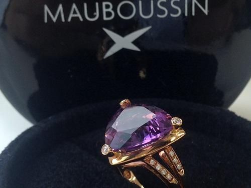 MAUBOUSSIN モーブッサン アメジストダイヤリング 750 ブランドジュエリー 中古