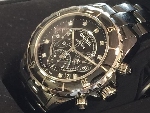 シャネル(CHANEL)買取 J12 クロノグラフ ダイヤモンド ブラック セラミック 付属品完備 MARUKA 京都北山店 ブランド時計買取査定