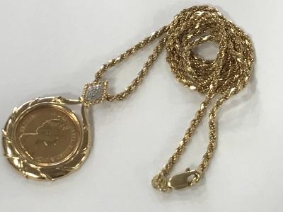 コイン K22 ソブリン金貨 K18 ペンダント枠 ネックレス 金買取 神戸 三宮 元町