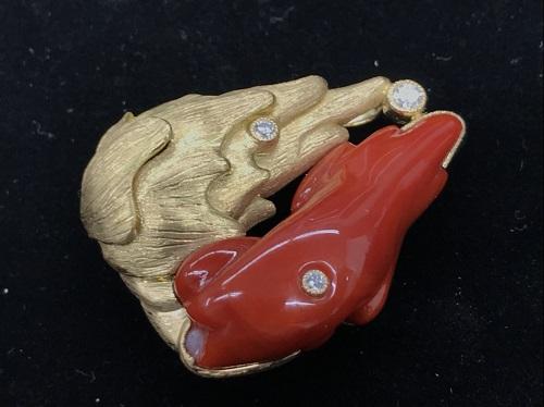 帯留め K18 ダイヤモンド 珊瑚(サンゴ)買取 ダイヤモンド買取 MARUKA心斎橋店