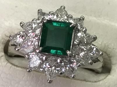 宝石 エメラルド 0.76ct ダイヤモンド 1.26ct リング PT900 エメラルド買取 神戸 元町 三宮