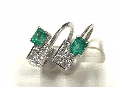 プラチナ PT900 ダイヤモンドエメラルド  ピアス ジュエリー 渋谷宝石高価 買取
