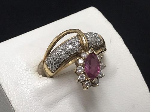 ルビー(Ruby) ダイヤモンド K18 0.65ct 0.48ct 7.5g 宝石 北山 買取