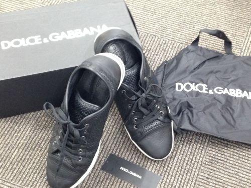 ドルチェ&ガッバーナ メンズスニーカー レザーブラック×ホワイト ドルガバ ブランドシューズ DOLCE&GABBANA