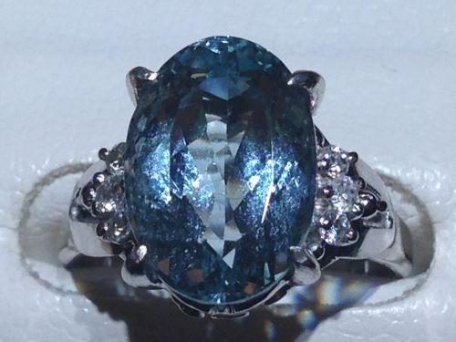 アクアマリン 指輪 プラチナ ダイヤ リング