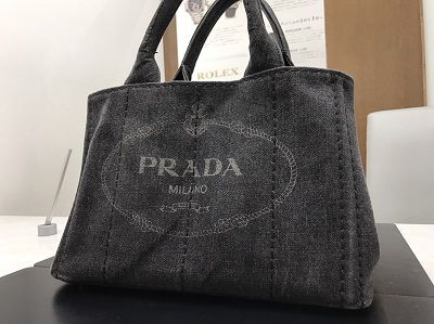 PRADA プラダ カナパトート キャンバス グレー 中古 高価買取 七条店