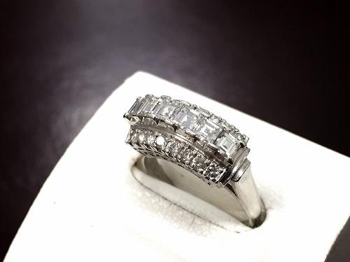 プラチナ ダイヤモンド リングバケット 0.93ct 一文字 Pt900 高価 買取 渋谷