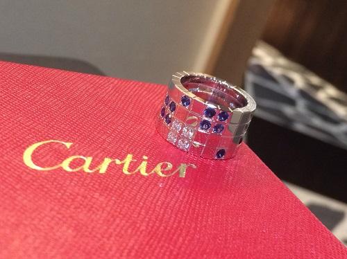 カルティエ Cartier パイエットリング K18WG ダイヤモンド サファイヤ 買取 渋谷