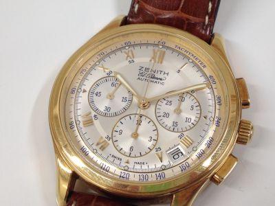 ゼニス ZENITH エルプリメロクロノグラフ 750YG レザー 腕時計 東京 銀座 高価買取
