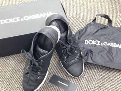ドルガバ DOLCE&GABBANA スニーカー ブラック レザー ブランドシューズ 東京銀座 高価買取