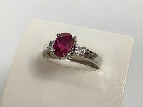 ルビー買取 Pt900 1.588ct 0.18ct 6.4g ダイヤモンド 宝石 四条 買取